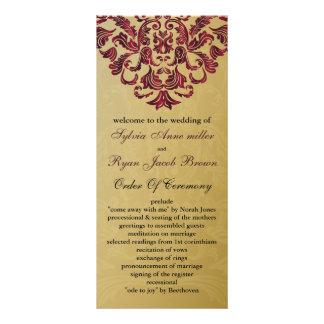 金ゴールドおよびピンクの結婚式プログラム ラックカード