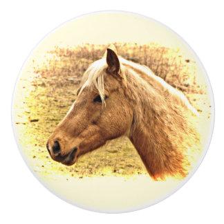 金ゴールドおよびブラウンの馬の動物の陶磁器のノブ セラミックノブ