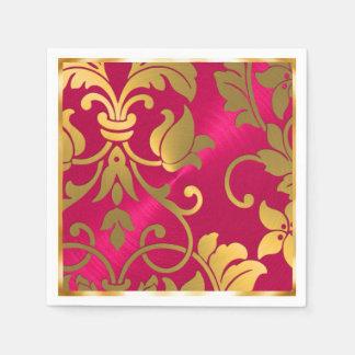 金ゴールドおよびマゼンタのピンクのダマスク織 スタンダードカクテルナプキン