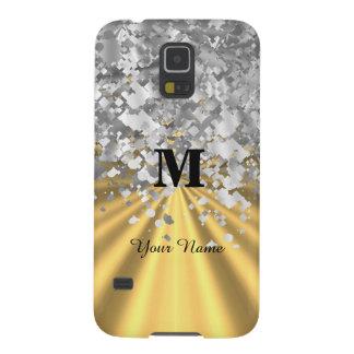 金ゴールドおよびモノグラムのな銀のグリッター GALAXY S5 ケース