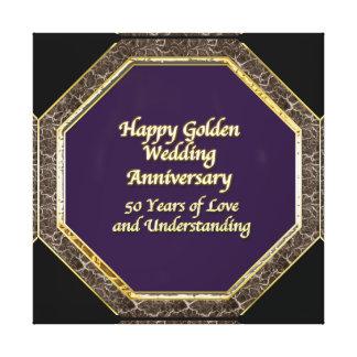 金ゴールドおよび大理石の幸せな結婚記念日のキャンバス キャンバスプリント