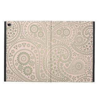 金ゴールドおよび柔らかいピンクのペイズリーパターン POWIS iPad AIR 2 ケース
