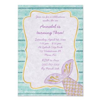 金ゴールドおよび水の青を持つ紫色の人魚の招待状 カード