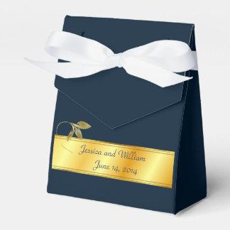 金ゴールドおよび海軍の結婚披露宴のギフト用の箱 フェイバーボックス