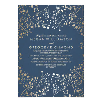 金ゴールドおよび海軍ベビーの呼吸花のモダンな結婚式 カード