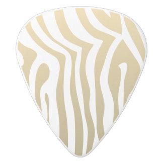 金ゴールドおよび白いシマウマのストライプなパターン ホワイトデルリン ギターピック