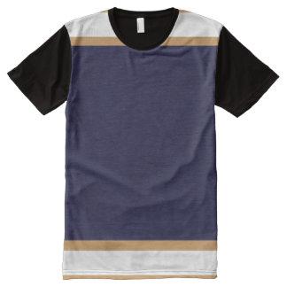 金ゴールドおよび白いトリムが付いている青 オールオーバープリントT シャツ