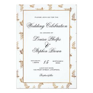 金ゴールドおよび白い結婚式招待状 カード