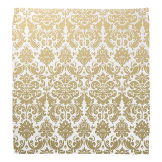 金ゴールドおよび白くエレガントなダマスク織パターン バンダナ