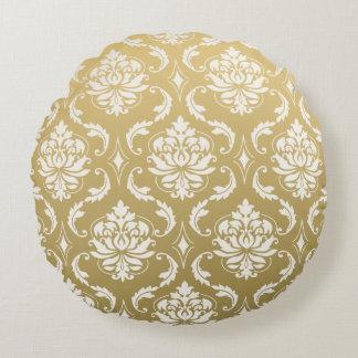 金ゴールドおよび白くクラシックなダマスク織 ラウンドクッション