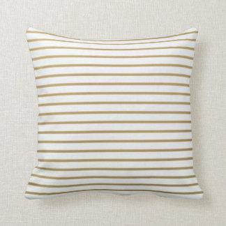 金ゴールドおよび白く薄くストライプな枕 クッション