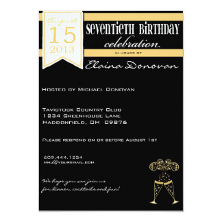 金ゴールドおよび白のシャンペンの第70誕生日 11.4 X 15.9 インビテーションカード