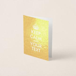 金ゴールドおよび白は平静およびあなたの文字を保ちます 箔カード
