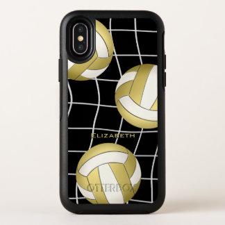 金ゴールドおよび白人のバレーボールの名前をカスタムするの女性 オッターボックスシンメトリー iPhone X ケース