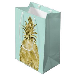 金ゴールドおよび真新しい水彩画のパイナップル ミディアムペーパーバッグ