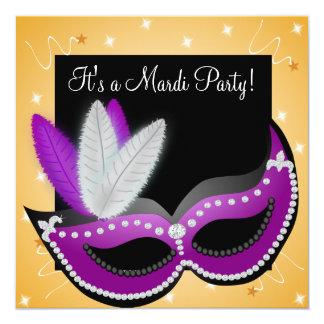 金ゴールドおよび紫色の名前入りな謝肉祭のパーティー カード
