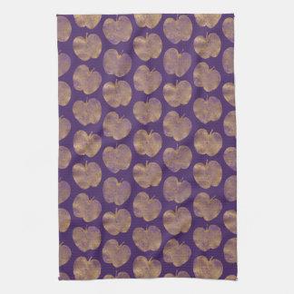 金ゴールドおよび紫色の織り目加工のりんごの台所タオル キッチンタオル