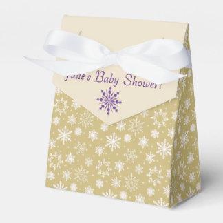 金ゴールドおよび紫色の雪片のベビーシャワーの好意箱 フェイバーボックス