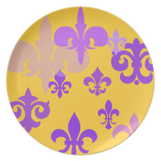 金ゴールドおよび紫色の(紋章の)フラ・ダ・リの装飾的なプレート プレート