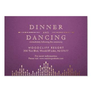 金ゴールドおよび紫色のdecoのヴィンテージの結婚披露宴 11.4 x 15.9 インビテーションカード