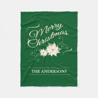 金ゴールドおよび緑のメリークリスマスの白のポインセチア フリースブランケット