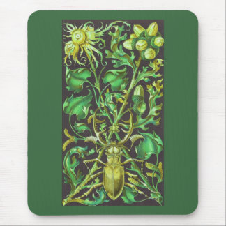 金ゴールドおよび緑のヴィンテージのプリントの角状のカブトムシ マウスパッド