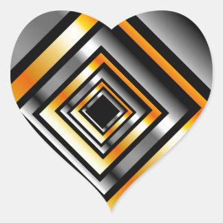 金ゴールドおよび見通しを形作る銀の正方形 ハートシール