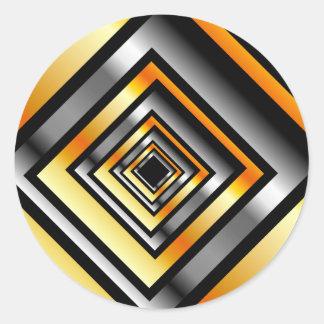 金ゴールドおよび見通しを形作る銀の正方形 ラウンドシール