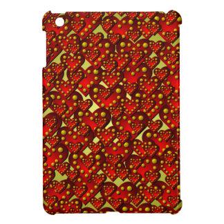 金ゴールドおよび赤いハートパターンiPad Miniケース iPad Miniケース