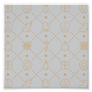 金ゴールドおよび銀製のクリスマスの記号の継ぎ目が無いパターン フォトプリント