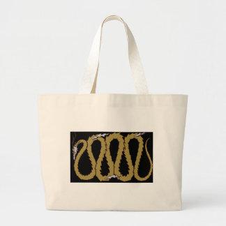 金ゴールドおよび銀製のドラゴンのプレート ラージトートバッグ