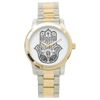 金ゴールドおよび銀製の調子の腕時計のhamsa、ファティマ 腕時計