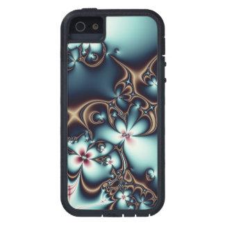 金ゴールドおよび青いフラクタルの花 iPhone SE/5/5s ケース