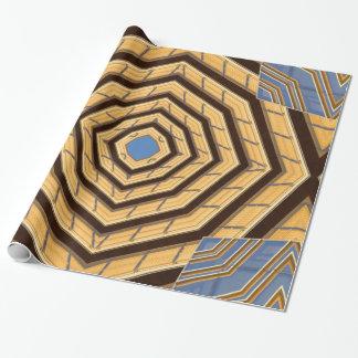 金ゴールドおよび青い包装紙 ラッピングペーパー