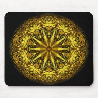 金ゴールドおよび黄色バラの万華鏡のように千変万化するパターン マウスパッド
