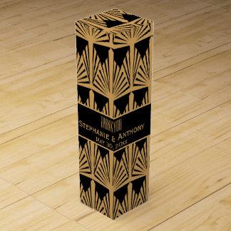 金ゴールドおよび黒いアールデコパターン結婚式は感謝していしています ワイン ギフト包装