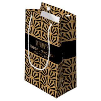 金ゴールドおよび黒いアールデコファンの花のブライダルシャワー スモールペーパーバッグ