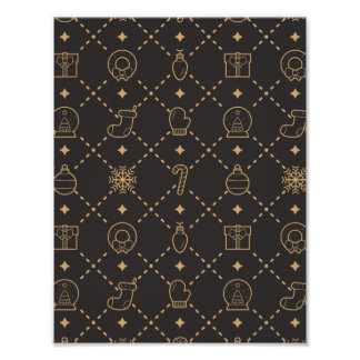 金ゴールドおよび黒いクリスマスの記号の継ぎ目が無いパターン フォトプリント