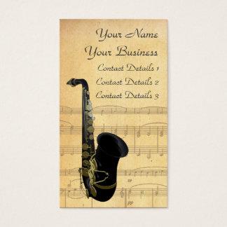 金ゴールドおよび黒いサクソフォーンの楽譜の名刺 名刺
