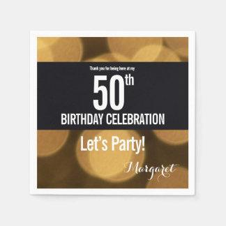 金ゴールドおよび黒いテーマ、第50誕生日 スタンダードカクテルナプキン