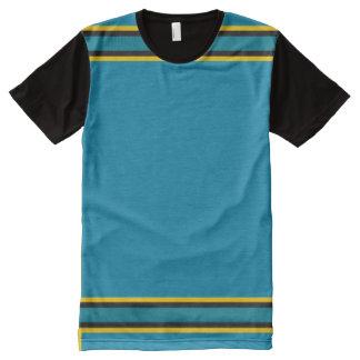 金ゴールドおよび黒いトリムを持つティール(緑がかった色) オールオーバープリントT シャツ