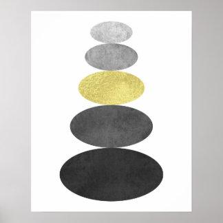 金ゴールドおよび黒い禅の小石の芸術はミニマルなモダンを印刷します ポスター