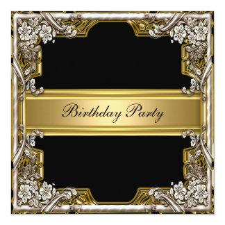 金ゴールドおよび黒い誕生日のパーティの招待状 カード