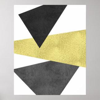 金ゴールドおよび黒くモダンでミニマルで幾何学的な芸術 ポスター