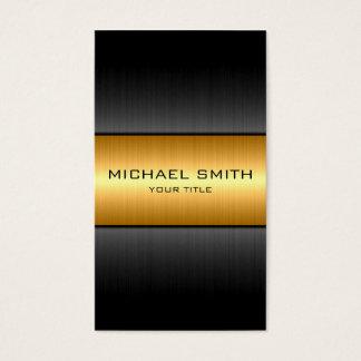 金ゴールドおよび黒のステンレス鋼の金属 名刺