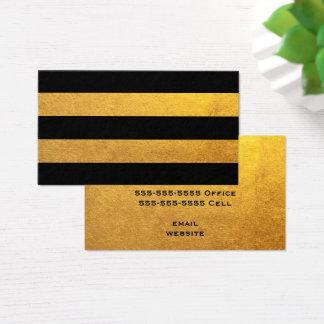 金ゴールドおよび黒のストライプ 名刺