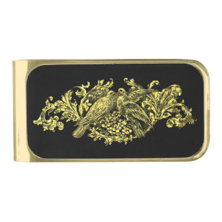 金ゴールドおよび黒の愛鳥 ゴールド マネークリップ