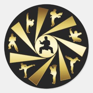 金ゴールドおよび黒の武道 ラウンドシール
