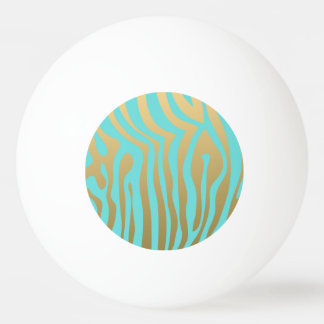 金ゴールドおよびTiffanyの青いシマウマのストライプなパターン 卓球ボール