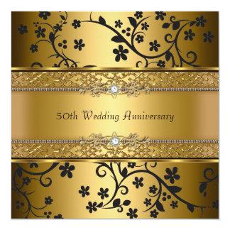 金ゴールドか黒い花第50の結婚記念日の招待 カード